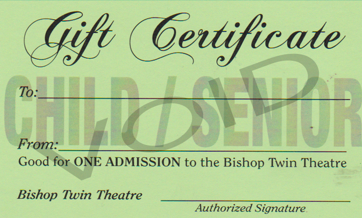 Gift Certificate - Child/Senior
